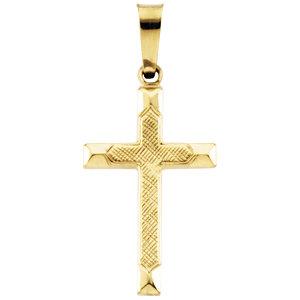 14K Gold Cross Pendant Hollow 17x12 mm