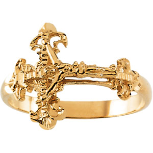14K Gold Ladies Crucifix Ring