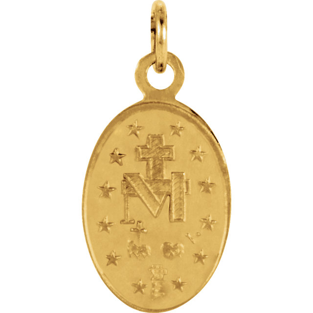 14K Gold Miraculous Medal Oval Back