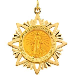 14K Gold Miraculous Medal 32x29 mm