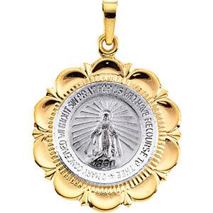 14KTT Gold Miraculous Medal 25x21 mm