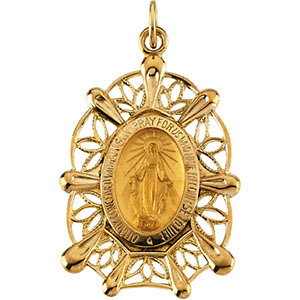 14K Gold Miraculous Medal 30x20 mm