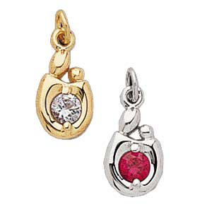 Gold mother and child birthstone pendant aloadofball Images