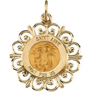 14K Gold St Anne Medal Filagree
