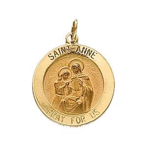 14K Gold St Anne Medal Round