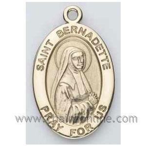 Gold St Bernadette Medal Oval