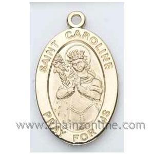 Gold St Caroline Medal Oval