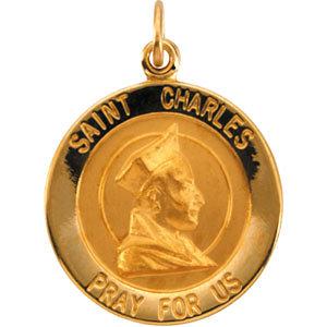 14K Gold St Charles Medal Round