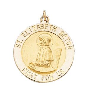 14K Gold St Elizabeth Ann Seton Medal Round