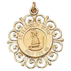 14K Gold St Elizabeth Ann Seton Medal Filagree