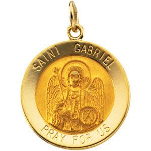 14K Gold St Gabriel Medal Round