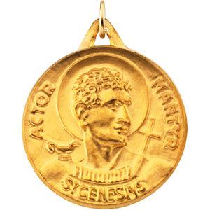 14K Gold St Genesius Medal 23.0 mm