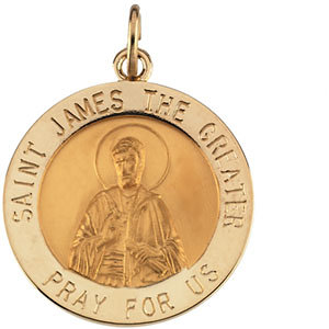 14K Gold St James the Greater Medal Round