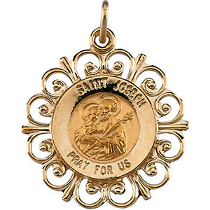 14K Gold Joseph Medal Filagree