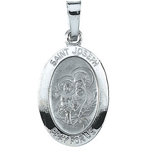 14K Gold Joseph Medal White Oval