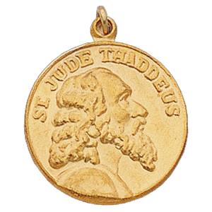 14K Gold St Jude Thaddeus Medal 13.0 mm
