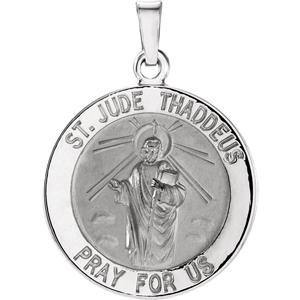 14K Gold St Jude Thaddeus Medal Round White
