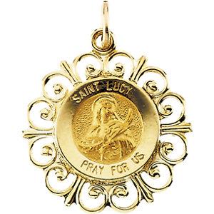 14K Gold St Lucy Medal Filagree