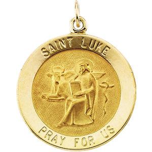 14K Gold St Luke Medal Round