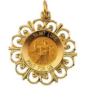 14K Gold St Luke Medal Filagree