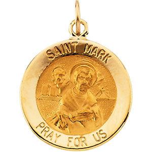 14K Gold St Mark Medal Round