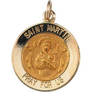 14K Gold St Martin de Porres Medal Round