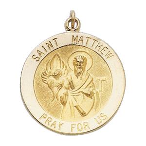 14K Gold St Matthew Medal Round