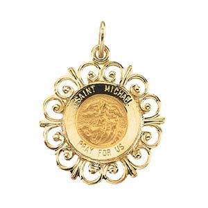 14K Gold St Michael Medal Filagree