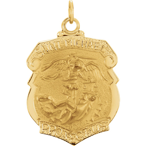 14K Gold St Michael Medal Badge