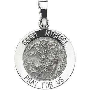 14K Gold St Michael Medal Round White