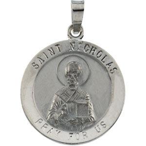 14K Gold St Nicholas Medal Round White