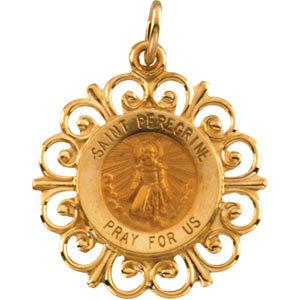 Gold Saint Peregrine Medal Filagree