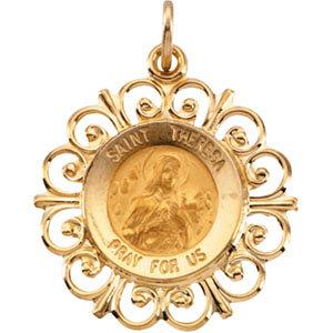 14K Gold St Theresa Medal Filagree