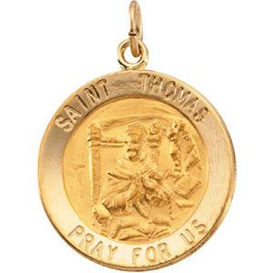 14K Gold St Thomas Medal Round