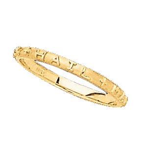 14K gold Hail Mary prayer ring