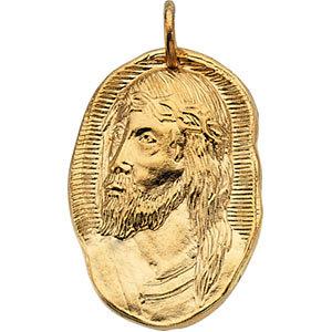 14K Face of Jesus Pendant Rustic