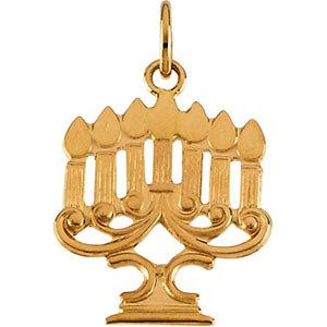14K Gold Menorah Pendant 18x14 mm