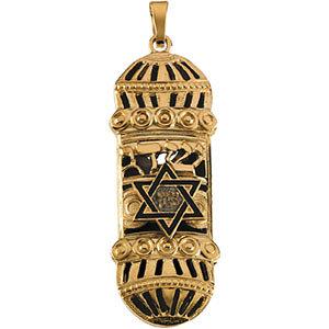 14K Gold Mezuzah Pendant 37x13 mm