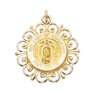 14K Gold Our Lady of Guadalupe Medal Filagree