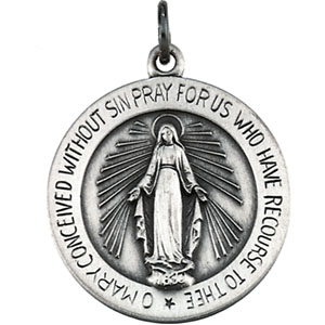 Round Silver Miraculous Medal