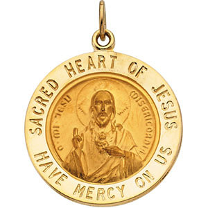 14K Sacred Heart of Jesus medal