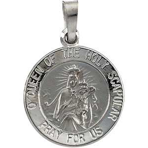 14K Gold Scapular Medal White