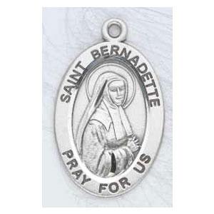 Silver St Bernadette Medal Oval