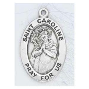 Silver St Caroline Medal Oval