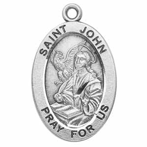 Silver St John the Apostle Medal Oval