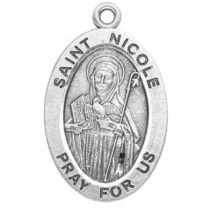 Silver St Nicole Medal Oval