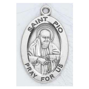 Silver St Padre Pio Medal Oval