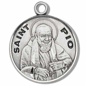 Silver St Padre Pio Medal Round