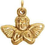 14k Gold Angel Pendant 11x12 mm