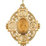 14K Gold Miraculous Medal 35x28 mm